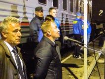 La llegada del tren de la campaña del partido democrático liberal ruso Imagen de archivo