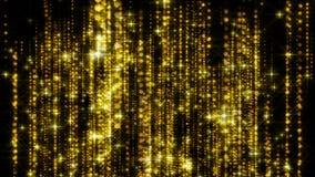La lluvia abstracta del oro con las part?culas brillantes con las llamaradas est? en el espacio, fondo brillante moderno, represe ilustración del vector
