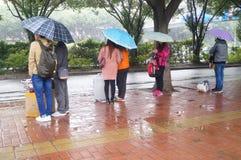 La lluvia que espera en gente del hogar del autobús Foto de archivo libre de regalías