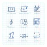 La línea fina iconos del vector fijó para la educación y la ciencia infographic Fotografía de archivo libre de regalías