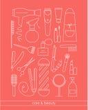 La línea iconos de Beauty&Care fijó para la peluquería de caballeros o el salón de belleza Imagenes de archivo