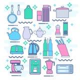 La línea iconos fijó con los elementos planos del diseño de los dispositivos de cocina Fotografía de archivo