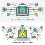 La línea plana actividades bancarias y el concepto de la gestión financiera Vector el ejemplo Fotografía de archivo libre de regalías