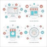 La línea plana comercio electrónico, pagos móviles, atención al cliente, los conceptos del negocio que hacían compras fijó ejempl Foto de archivo