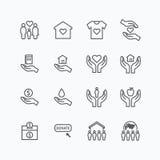 La línea plana de los iconos de la silueta de la caridad y de la donación diseña vector Foto de archivo libre de regalías