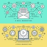 La línea plana email y el concepto del márketing del vídeo Vector el ejemplo Iconos lineares finos modernos del vector del movimi Imágenes de archivo libres de regalías