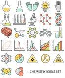 La línea plana iconos fijó de símbolos de la química y Fotos de archivo