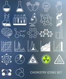 La línea plana iconos fijó de símbolos de la química y Imágenes de archivo libres de regalías