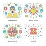La línea plana servicios de atención al cliente, ayuda, solución de la blanco, conceptos del éxito empresarial fijó ejemplos del  Imágenes de archivo libres de regalías