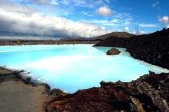 La località di soggiorno geotermica del bagno della laguna blu in Islanda Fotografia Stock Libera da Diritti