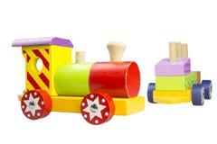 La locomotiva di legno dei bambini Immagini Stock