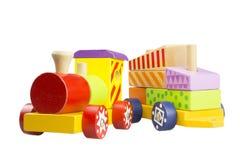 La locomotiva di legno dei bambini Fotografia Stock Libera da Diritti