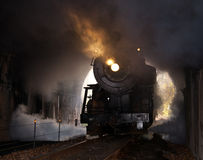 La locomotora de vapor entra en el túnel Imagen de archivo libre de regalías