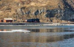 La locomotora soviética vieja se coloca en una trayectoria sin salida Fotografía de archivo