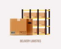 La logística de Warehouse entrega objetos del tema ilustración del vector