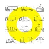La logística enrarece la línea iconos fijados Imagenes de archivo