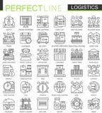 La logística resume mini símbolos del concepto Ejemplos lineares del estilo del movimiento moderno fijados Transporte logístico p stock de ilustración