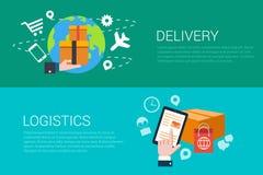 La logistica piana della consegna di vettore consegna le insegne di infographics di web Fotografia Stock Libera da Diritti