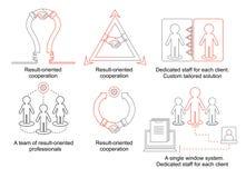 La logistique amincit la ligne icônes Concept d'affaires avec la lampe et le handhsake Une équipe de professionnels orientés résu Images libres de droits
