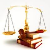 La loi en bois a donné sur la pile du livre coloré