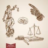 La loi Themis Justice Lady juridique mesure le vecteur de vintage de gravure Image libre de droits