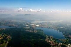La Lombardia veduta da un aeroplano Fotografia Stock