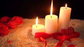 La longueur de la fleur a monté, combustion de bougie et valentine de décoration banque de vidéos