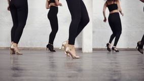 La longueur des jambes femelles dans la salle de bal chausse des étapes de base de danse de bachata clips vidéos