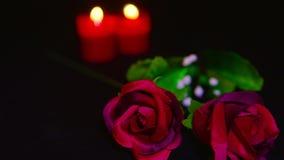La longueur du Saint Valentin avec la combustion de bougie et la fleur rouge a monté banque de vidéos