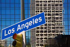 LA Los Angeles downtown wit road sign photo mount. In redlight Stock Image