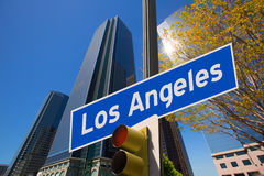 LA Los Angeles sign in redlight photo mount on downtown Stock Photography