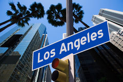 LA Los Angeles sign in redlight photo mount on downtown Royalty Free Stock Photography