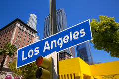 LA Los Angeles sign in redlight photo mount on downtown Royalty Free Stock Photo