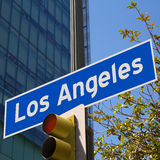 LA Los Angeles sign in redlight photo mount on downtown Royalty Free Stock Images
