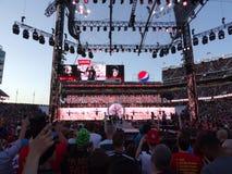 La lotta Bray Wyatt di WWE entra nell'arena per la partita con l'impresario Immagine Stock