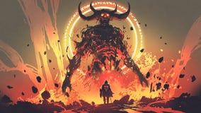 La lotta del capo con il demone della lava royalty illustrazione gratis