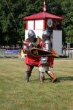 La lotta di due cavalieri Fotografia Stock