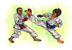 La lotta di torneo degli uomini di karatè il potere di Karatè-fa, 2017 Fotografie Stock