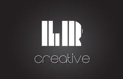 La LR L lettre Logo Design With White de R et lignes noires Photos stock