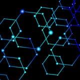 La luce blu collegata punteggia il fondo astratto Immagine Stock