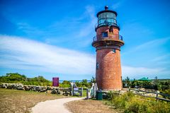 La luce capa gay famosa nel Martha's Vineyard di Cape Cod, Massachusetts fotografia stock