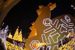 La luce decora bello sulla celebrazione 2017 dell'albero di Natale Fotografie Stock Libere da Diritti