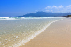 La luce del giorno dorata del cielo blu della spiaggia dell'onda e della sabbia abbellisce Fotografia Stock