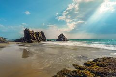La luce dell'orata è brillante alla costa vicino alla roccia gigante Fotografie Stock Libere da Diritti