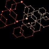 La luce rossa collegata punteggia il fondo astratto Fotografia Stock