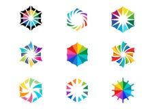 La luce, sole, logo, circonda il vettore astratto di progettazione dell'icona stabilito colorato di simbolo dell'arcobaleno delle Immagine Stock Libera da Diritti