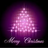 La luce stars l'albero di Natale Fotografia Stock
