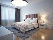 La luce tonifica l'interno moderno della camera da letto Fotografia Stock Libera da Diritti