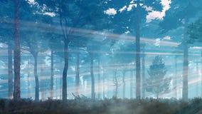La luciérnaga mágica se enciende en bosque místico en la oscuridad stock de ilustración