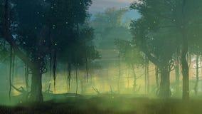 La luciole s'allume dans le cinemagraph brumeux 4K de forêt de nuit illustration de vecteur